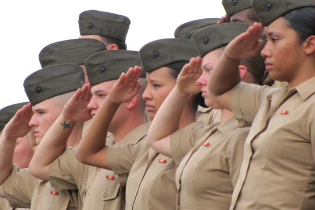 Marines from the Marine Detachment salute the flag during the national anthem that opened the festivities at the Armed Forces Celebration Week's Concert in the Park.