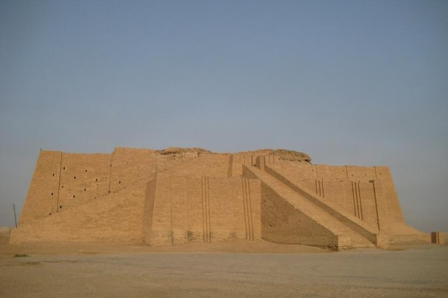 The Ziggurat of Ur, which was located in the ancient city of Ur near the present-day city of Nasiriyah in day Dhi Qar Province, Iraq.