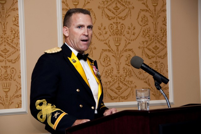 Col. Robert P. White, executive officer to the commanding general of U.S. Army Training and Doctrine Command, serves as emcee for the first TRADOC Ball on Langley Air Force Base, Va., June 26, 2010. (U.S. Army Sgt. Angelica Golindano) (RELEASED)
