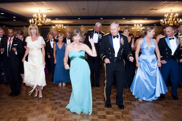 Members of U.S. Army Training and Doctrine Command dance at the first TRADOC Ball on Langley Air Force Base, Va., June 26, 2010. (U.S. Army Sgt. Angelica Golindano) (RELEASED)