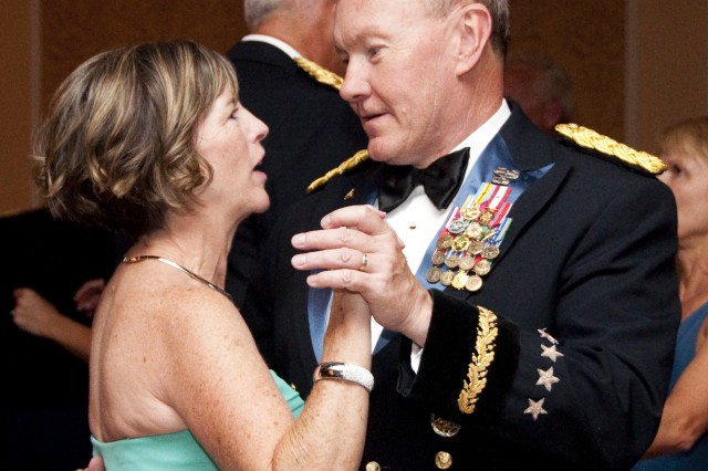 Gen. Martin E. Dempsey, commanding general of U.S. Army Training and Doctrine Command, and his wife, Deanie, dance together at the first TRADOC Ball on Langley Air Force Base, Va., June 26, 2010. (U.S. Army Sgt. Angelica Golindano) (RELEASED)