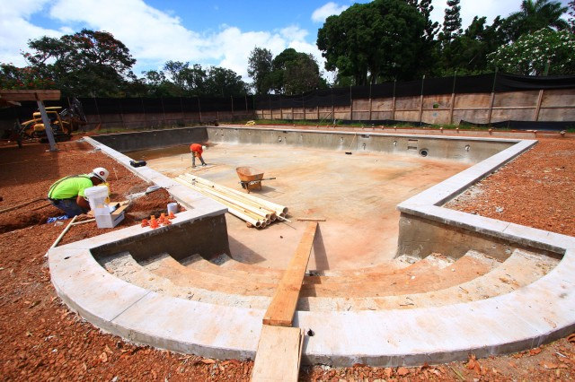 SCHOFIELD BARRACKS, Hawaii - The new Wilikina Community Center, located in the Wheeler Army Airfield Community, will be completed in the fall. Families will enjoy great amenities, including the swimming pool being built.