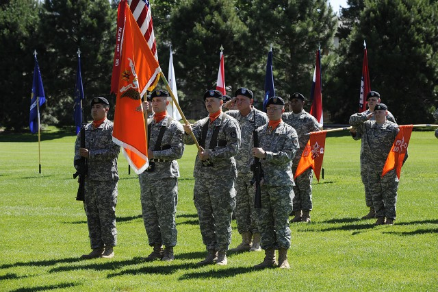 Posting of the colors during the change of command ceremony for the 53rd Signal Battalion.