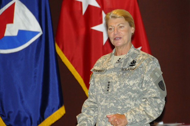 Gen. Ann E. Dunwoody, commanding general for the U.S. Army Materiel Command, addresses her team at a Town Hall/Awards ceremony at the Bob Jones Auditorium at Redstone Arsenal, Ala. Friday, June 25.