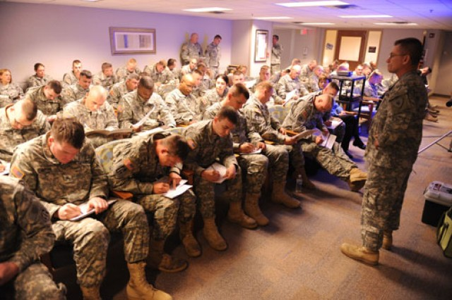 Soldiers are briefed about the importance of answering questions honestly before beginning the Post-Deployment Health Reassessment.