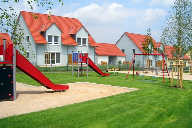 The 830-home military housing area, Netzaberg, was built for some of the thousands of troops that will arrive at Grafenwoehr as part of the U.S. Army's transformation in Europe. The community includes 11 house designs, featuring floor plans ranging from 1,300 to 1,900 square feet.