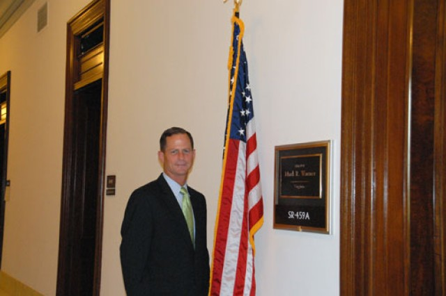 Sgt. Maj. Scott Martin poses outside Sen. Mark Warner of Virginia's office, where he helped advise the senator on military matters from an NCO perspective.