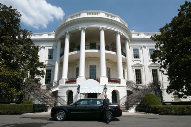 A White House Transportation Agency master driver stands by to transport White House personnel.
