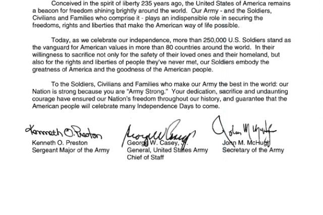 2010 Independence Day senior Army leader message