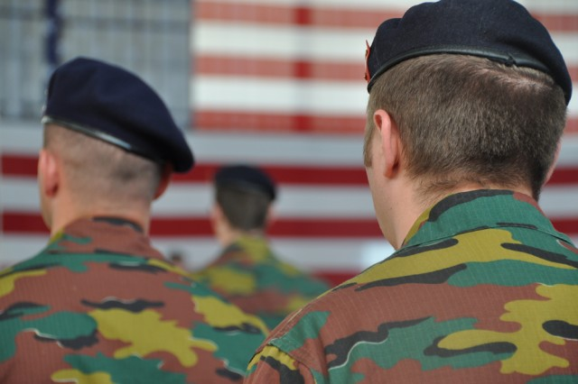 CHIEVRES, Belgium - A platoon of Belgian soldiers stand in formation during the U.S. Army Garrison Benelux change of command ceremony June 30 on the air base here.