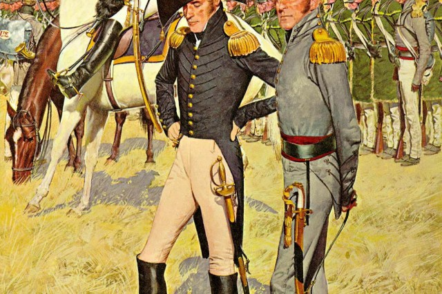 "The American Soldier, 1814: The war of 1812 was the cradle of the Army's General Staff. Staff departments and staff procedures comparable to the best available in European armies were developed. A general staff officer stands in the left foreground. The uniform was adopted in 1813 and worn for the next two decades. Behind him is a mounted general officer. Both men wear the high military boots allowed only to general and general staff officers. An old American institution, the rifle regiment, reappeared on the rolls of the Army in the years leading up to the War of 1812. So well liked was this type of unit that three more regiments of riflemen were created during the war. In the right foreground is a rifle regiment field grade officer in the gray dress uniform adopted for those regiments in March 1814. A detachment of riflemen in their fringed, green summer linen rifle frocks, the only reminder of the green uniform formerly worn by the rifle regiment, are seen in the background.  (CMH, ""The American Soldier""  poster series)."