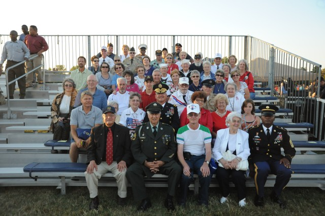 Maj. Gen. Karl R. Horst, commander and Command Sergeant Major Micahel Williams, command sergeant major of Joint Force Headquarters - National Capital Region and The U.S. Army Military District of Washington, pose with John Spisso, Civilian Aide to the Secretary of the Army, Pennsylvania West and a group of veterans and family members from Armburst, PA.