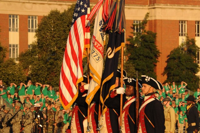 The Continental Color Guard prepare to retire the colors at the last Twilight Tattoo of the season on June 30, 2010.