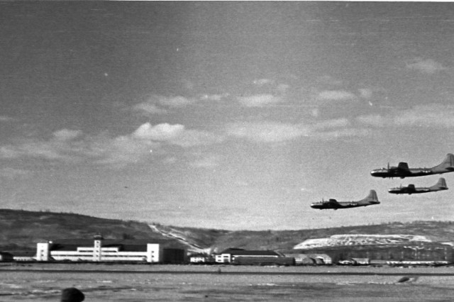 FORT WAINWRIGHT, Alaska - Three planes come in to Ladd Field in the 1940s.