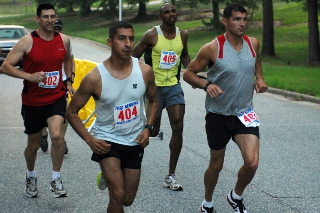 James Mahurin (402), Lear Riojas (405), David Reyes (404) and Joshua Horsager (403) take off at the Army Ten-Miler Fort Benning team qualifier June 25 at Sand Hill.  There are two more opportunities to try out for the Fort Benning team.  The final two qualifiers are July 10 and 17 starting at Santiago Fitness Center on Sand Hill.  Participants should arrive at 6:30 a.m. to sign in.