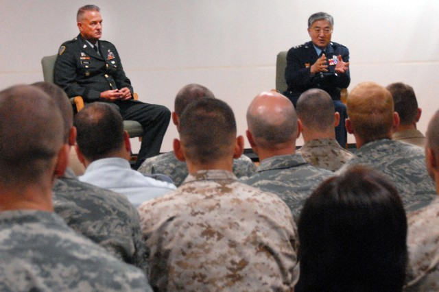 "PRESIDIO OF MONTEREY, Calif. - Republic of Korea Army Maj. Gen. Yoon Hak-soo addresses students and faculty of the Defense Language Institute Foreign Language Center Korean school, here July 1. Marine Corps Detachment Lance Cpl. Jameson Parr, who recently began studying Korean, said that he was ""very excited"" to interact with someone of ""such a high rank"" from the Korean Army."