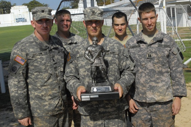 The headquarters team - from left, LTC Thomas Sheehan, CPT Chad Chapman, 1SG Alan Barton, CPT Colin Reutinger and CPT Thomas Schlichter - captured first place June 25 at the second quarterly CSM Physical Fitness Challenge, which featured cadre from 2nd Battalion, 19th Infantry Regiment.