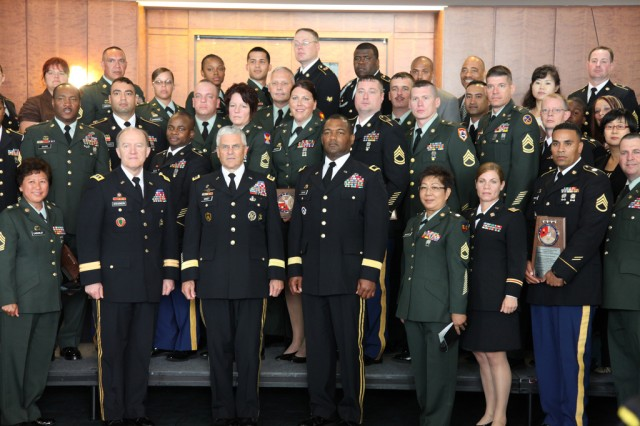 RICHMOND, Va. -- Participants and awardees pose for a group photo with Army Chief of Staff Gen. George W. Casey Jr. at the conclusion of the Army's 6th annual Combined Logistics Excellence Awards in Richmond, Va., June 24, 2010.