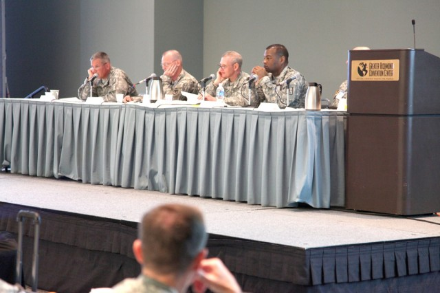 RICHMOND Va. -- (From left to right) Maj. Gen. Raymond V. Mason, 8th Training Support Command commanding general, Maj. Gen. Yves J. Fontaine, Commanding General, U.S. Army Sustainment Command, Rock Island, Illinois, Maj. Gen. Bob Radin, Deputy Assistant Chief of Staff, G-4, and Brig. Gen. Jesse R. Cross, Combined Arms Support Command and Sustainment Center of Excellence commander, lead discussion during a Sustainment Panel that focused on modularity materiel during the 2010 Sustainment Commander's Conference here.