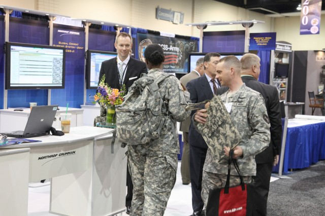 RICHMOND, Va. -Soldier's visit the Northrop Grumman display booth during a trade show held in conjunction with the Army Sustainment Symposium and Exposition hosted by the Association of the United States Army. The symposium, held at the Richmond Convention Center, June 22, 2010, centered around the theme, 'Resetting for the Future: People, Materiel and Technology.'
