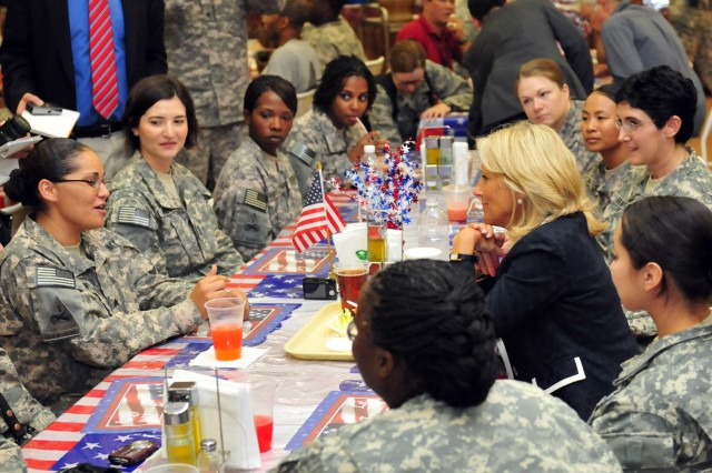BAGHDAD - Dr. Jill Biden, Vice President Joe Biden's wife, eats lunch and converses with 1st Armored Division female Soldiers at the Sports Oasis dining facility on Camp Victory July 4. Jill Biden also attended the division's Independence Day celebration held later in the day at the Camp Liberty Field House. (U.S. Army photo by Sgt. Teri Hansen, 366th MPAD, USD-C)