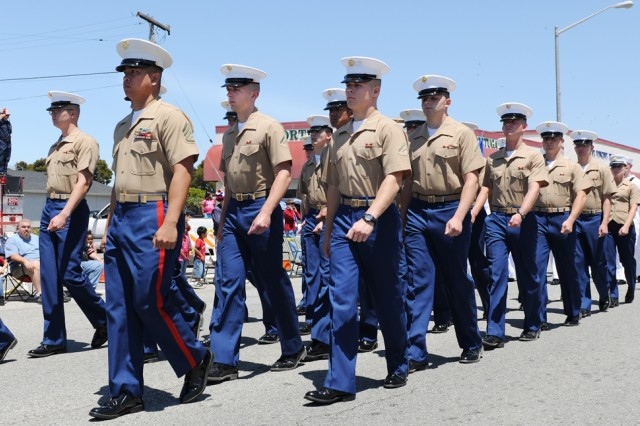 PRESIDIO OF MONTEREY, Calif. - Marines from the Presidio of Monterey Marine Corps Detachment march in the 61st annual Seaside Independence Day parade July 4.
