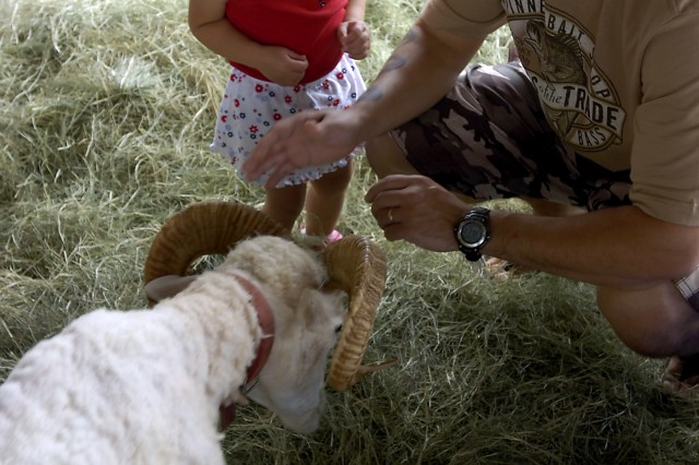 Sergeant Matthew Mitchell coaxes his daughter Lia into petting a small goat at a petting zoo on Sills Field during the 39th Annual 4th of July Spectacular at Schofield Barracks, Hawaii, July 4. The public event invited families to the many games, prize giveaways and performances in celebration of Independence Day. (U.S. Army photo by Spc. Jesus J. Aranda, 25th Infantry Division Public Affairs Office)