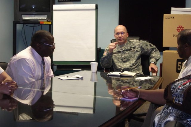 Brig. Gen. Stephen B. Leisenring, commander, MICC, visited the Joint Base Myer-Henderson Hall directorate of Contracting to meet the entire staff one-on-one and to address root causes of contracting issues.