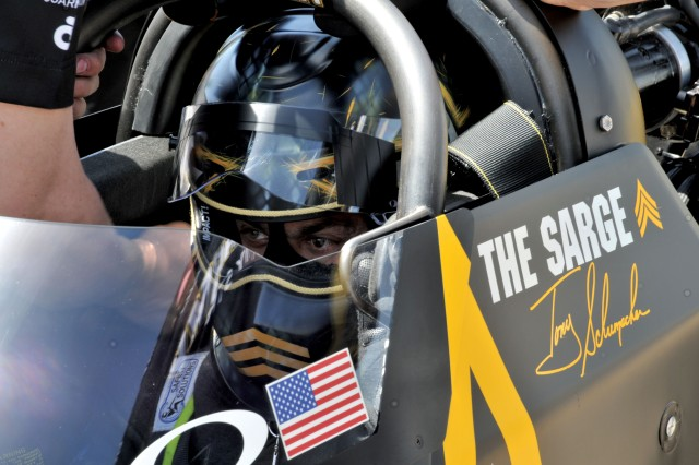 The seven-time National Hot Rod Association (NHRA) Top Fuel Champion, Tony Schumacher, is called 'The Sarge' by Soldiers and race fans alike.