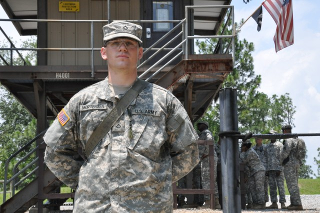 Pfc. Joseph Mortensen, a luge athlete, now spends his days with his fellow Basic Combat Training Soldiers of the 1st Battalion, 34th Infantry Regiment.