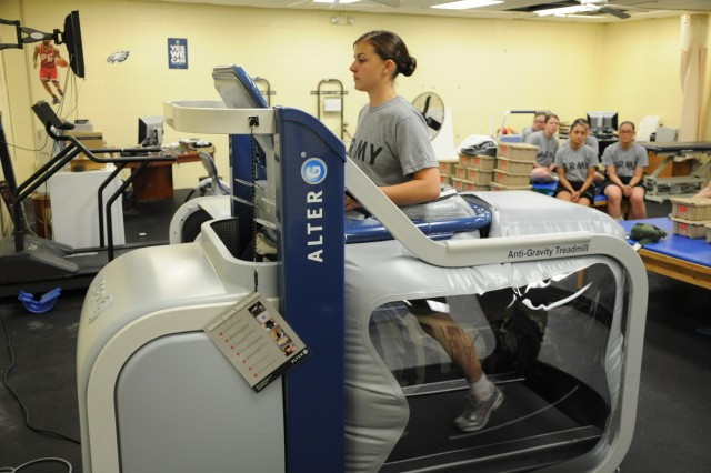 Pvt. Bonnie Beaver tests one of three new anti-gravity treadmills in use by the 171st Infantry Brigade on Fort Jackson, S.C.
