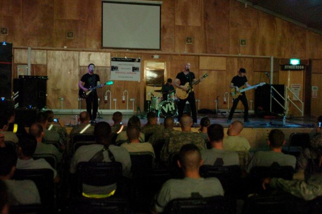 Vertical Horizon, an alternative rock, post-grunge rock band from Washington, D.C., performs for Soldiers and other attendees at Contingency Operating Base Speicher's South Morale, Welfare and Recreation facility, July 7.