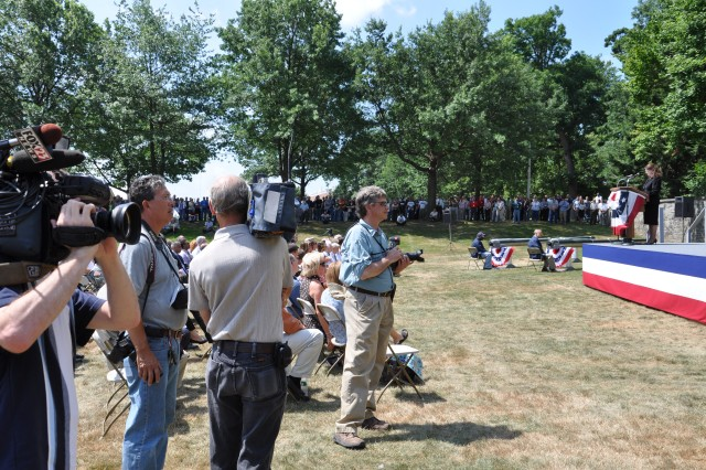 Although not a military community, as one would find in Watertown, N.Y or Lawton, Okla., the New York Albany area is a community with military.  Local journalists stand by to cover the Watervliet Arsenal change of command ceremony on July 9, 2010.