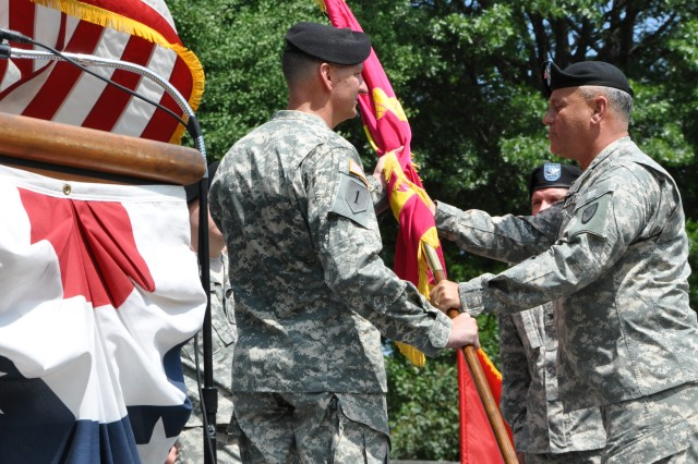 For the 57th time in its 197-year history, the Watervliet Arsenal changed its command.  Receiving the Organizational Colors from Maj. Gen. Kurt J. Stein is new arsenal commander Col. Mark F. Migaleddi.