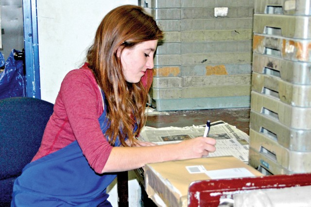 Teah Hale works at the Wiesbaden Postal Service Center in the Summer Hire Program.