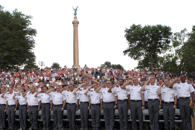 New cadets from the Class of 2014 stand at attention during the National Anthem at Trophy Point July 3 during the Independence Day Concert and change of command ceremony.