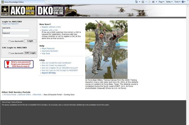 Screen shot of AKO login page