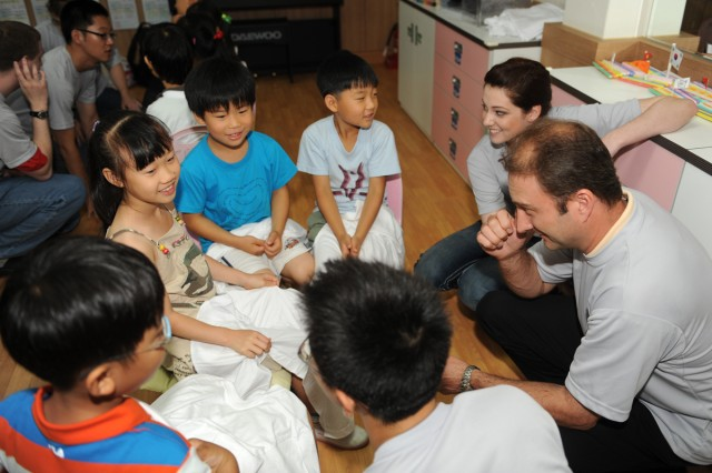 Students interact with U.S. Soldiers through games and English learning sessions July 3 at Subaek Elementary School in Gangwon Province, South Korea.