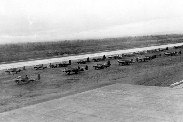 FORT WAINWRIGHT, Alaska - Aircraft sit on the tarmac at Ladd Field awaiting transfer to Russian pilots during the Lend-Lease Program in the early 1940s.