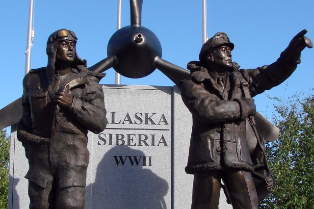 FAIRBANKS, Alaska - A statue honoring the American and Russian pilots of the Lend-Lease Program stands in downtown Fairbanks.