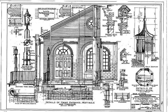 Original detail drawings of front entrance and vestibule at Hill Hall, Bldg. 257.