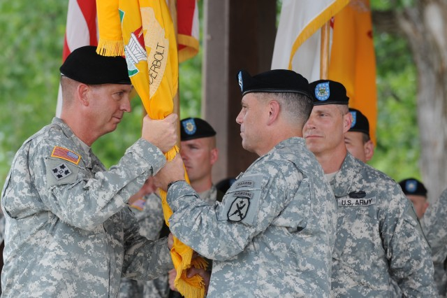 Col. Ted Martin (left) became the new commandant of the Army Armor School in the ceremony conducted at Fort Knox with Maj. Gen. Michael Ferriter calling Martin 'the right man for this very special moment.'