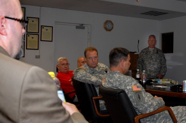 U.S. Army Brig. Gen. David Elmo, U.S. Army Africa deputy commander, listens to details from attendees at a U.S. Army Reserve Force Provider Meeting hosted at Caserma Ederle, Vicenza, Italy.