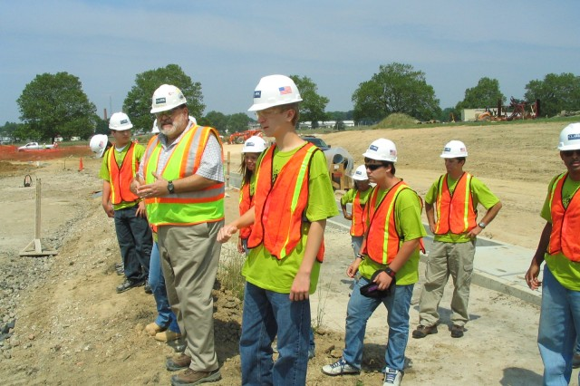 """As part of the """"Engineering the Future"""" curriculum, Maryland ninth and tenth grade students toured a construction site at APG with the U.S. Army Corps of Engineers."""