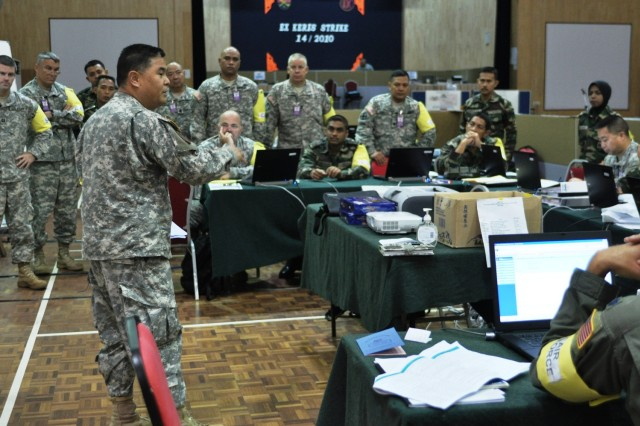 KUANTAN, Malaysia - U.S. Army Lt. Col. Kimo Dunn, battalion commander, 100th Battalion, 442nd Infantry Regiment, 9th Mission Support Command, briefs  Multi-National Force staff as part of the simulated command post exercise during Exercise Keris Strike 2010. During the exercise, U.S. and Malaysian Armed Forces soldiers participate in academic training, a mini-staff exercise and a command post exercise. Participants also have a chance to further strengthen their relationships by competing in sporting events and enjoying cultural activities.