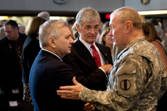 Sen. Jack Reed (D-RI), Secretary of the Army John McHugh and Gen. Martin Dempsey talk before the U.S. Military Academy change of command ceremony at West Point, N.Y., July 19, 2010. Founded in 1802, the U.S. Military Academy is a four-year co-educational federal undergraduate liberal arts college.