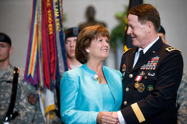 Lt. Gen. Buster Hagenbeck, 57th Superintendent of U.S. Military Academy, and his wife, Judy Hagenbeck, smile at the U.S. Military Academy change of command ceremony at West Point, N.Y., July 19, 2010.  Hagenbeck retired from the Army after 39 years of service.