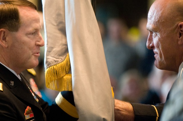 Lt. Gen. Buster Hagenbeck, 57th Superintendent of U.S. Military Academy,  receives the unit's colors from USMA Command Sgt. Maj. Anthony W. Mahoney during the change of command ceremony at West Point, N.Y., July 19, 2010.