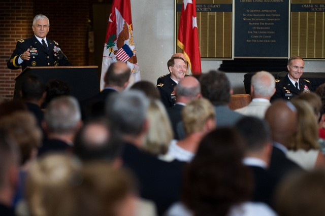Chief of Staff of the Army Gen. George W. Casey Jr. addresses the audience of the U.S. Military Academy change of command ceremony in West Point, N.Y., July 19, 2010.
