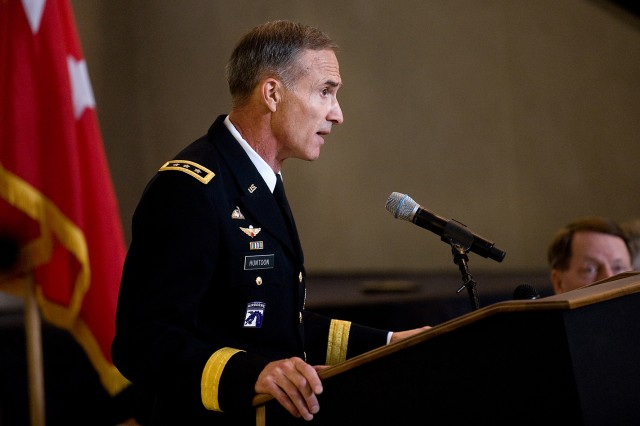 Lt. Gen. David H. Huntoon Jr., 58th Superintendent of U.S. Military Academy, addresses the audience during the USMA change of command ceremony in West Point, N.Y., July 19, 2010.